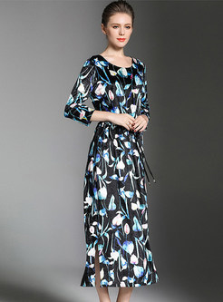 Velvet Floral Print Lacing Maxi Dress