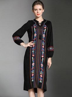 Suede Embroidered Slit Shift Dress