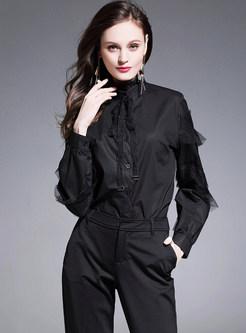 Black Lace Splicing Slim Blouse