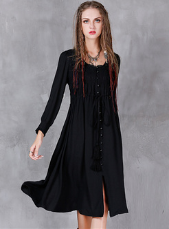 Brief Tassel Single-breasted Shift Dress