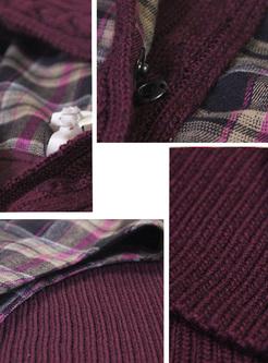 Retro Grid Slim Mini Knitted Dress