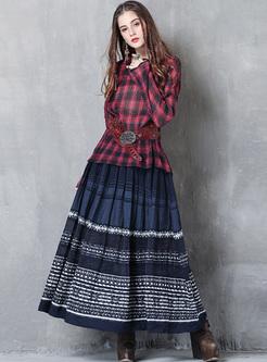 Ethnic V-neck Plaid Pullover Blouse