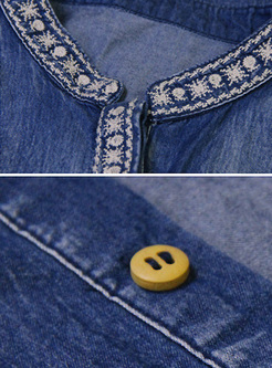 Denim Embroidery Stand Collar Blouse