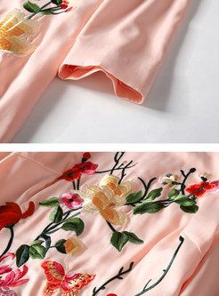 Pink Ethnic Embroidered Stand Collar Shift Dress