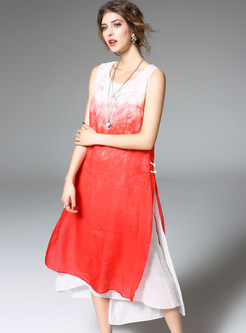 Red Gradient Stitching Loose Shift Dress