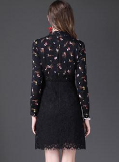 Floral Print Splicing Lace Slim Dress