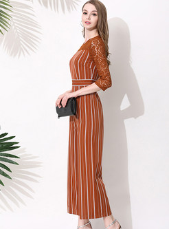 Striped Lace Hollow Out Jumpsuits