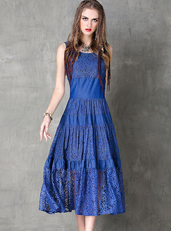 Blue Sleeveless Lace Slim Maxi Dress