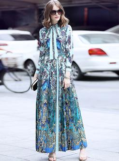Ethnic Tied-collar Print Maxi Dress
