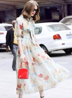 Street Tied Print Maxi Dress