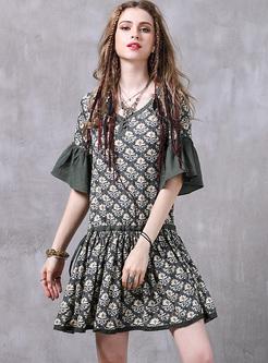Street Print Flare Sleeve Mini Skater Dress