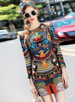 Vintage Multicolor Print Mini A-line Dress