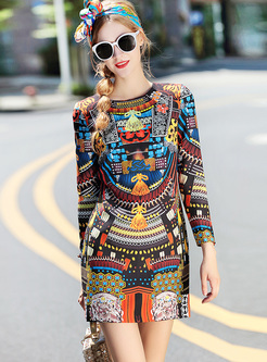 76540641a964 Vintage Multicolor Print Mini A-line Dress