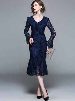 Blue Lace Splicing Falbala Mermaid Dress