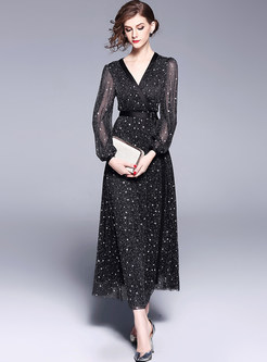 Black Hot Drilling Mesh Lantern Sleeve Maxi Dress