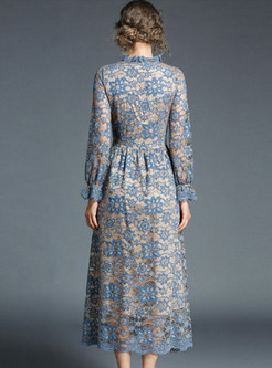 Blue Lace Embroidered Maxi Dress