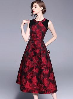 Vintage Sleeveless Jacquard Party Dress