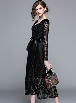 Black V-neck Embroidered Lace Maxi Dress