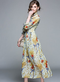Chiffon Print Belted Falbala Maxi Dress