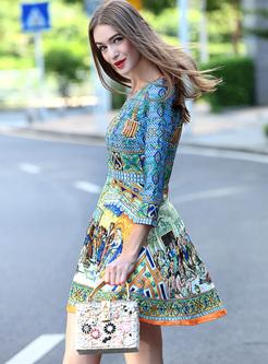 Print High Waisted Skater Mini Dress