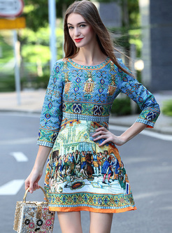 Court Print Mini High Waist Skater Dress
