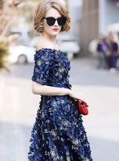 Elegant Stereoscopic Flower Slash Neck A-line Dress