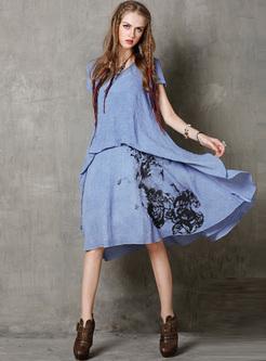 Vintage Ink Print Asymmetric Shift Dress