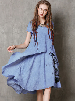Vintage Ink Print Asymmetric Shift Dress