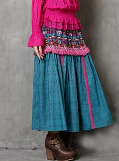 Ethnic Split Tassel Print Skirt