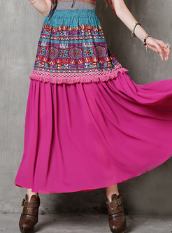 High Waisted Print Fringed Maxi Skirt