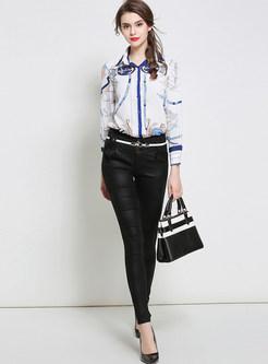 White Turn Down Collar Print Blouse