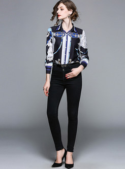 Black Print Lapel Long Sleeve Blouse