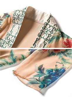 Khaki Chiffon Floral Print Shift Coat