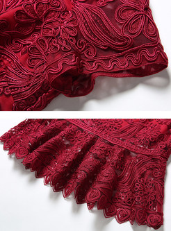 Wine Red Embroidered Mermaid Dress