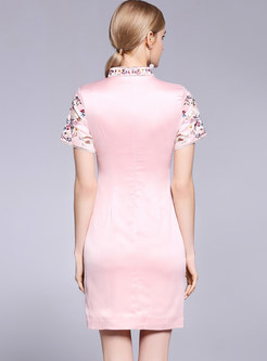Pink Improved Cheongsam Embroidered Bodycon Dress