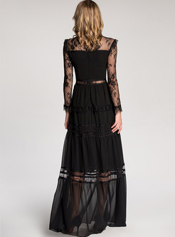 Sexy See Through Lace Maxi Dress