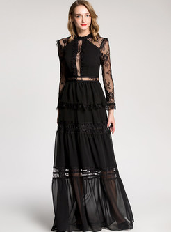 Sexy Transparent Long Sleeve Lace Party Maxi Dress