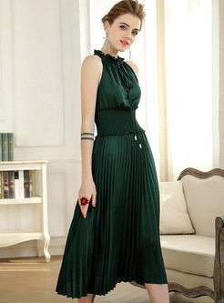 Green High Waist Sleeveless A-line Dress
