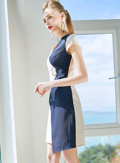 Contrast Color V-neck Asymmetric Splicing Bodycon Dress
