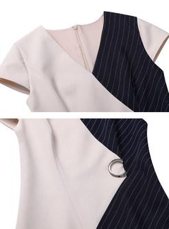 Contrast Color V-neck Asymmetric Splicing Bodycon Dress