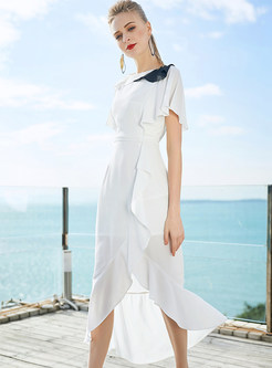 White Lotus Leaf Collar Asymmetric Bodycon Dress