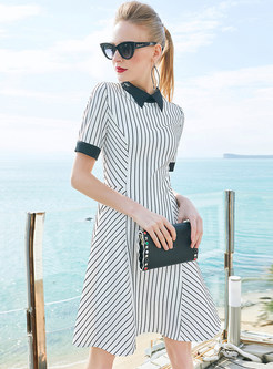 Brief Striped Lapel Short Sleeve A-line Dress