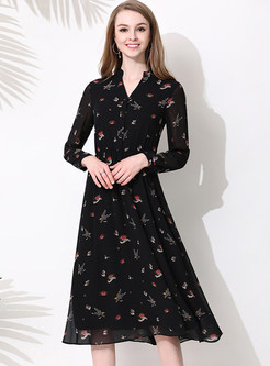 Black Floral Print V-neck Chiffon Skater Dress ... ec79d74e7