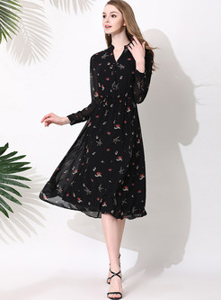 ... Black Floral Print V-neck Chiffon Skater Dress ... 8140a9c10