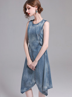 Street Sleeveless Asymmetric Hem Denim Dress