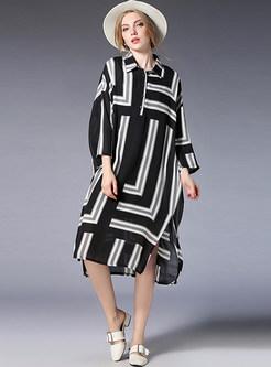 Striped Stitching Lapel Chiffon Dress