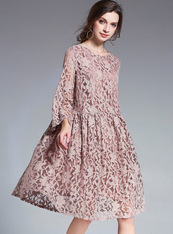 Pink Lace Hollow Out Loose Shift Dress