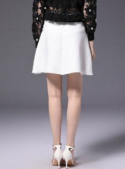 White High Waist A-line Skirt