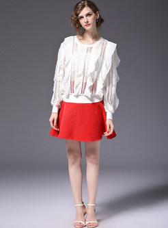 Red Stylish Big Hem A-line Skirt