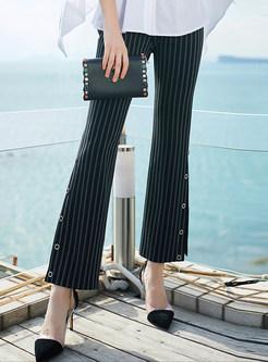 Striped Slit Petal Button Flare Pants